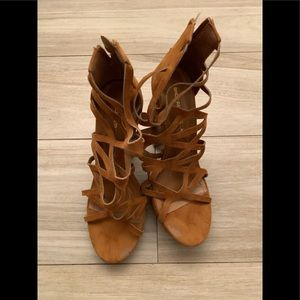 Tan strappy thick heels